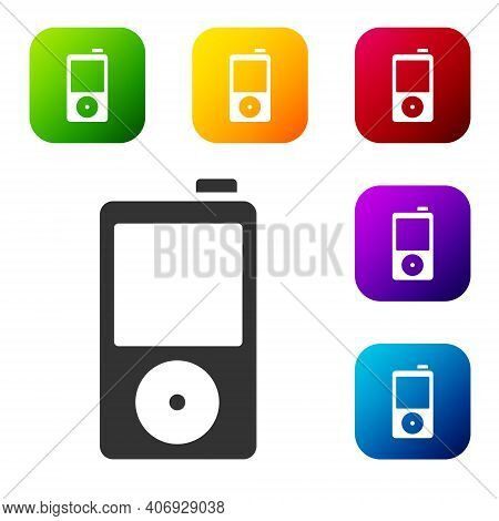 Black Music Player Icon Isolated On White Background. Portable Music Device. Set Icons In Color Squa