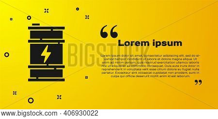 Black Bio Fuel Barrel Icon Isolated On Yellow Background. Eco Bio And Canister. Green Environment An