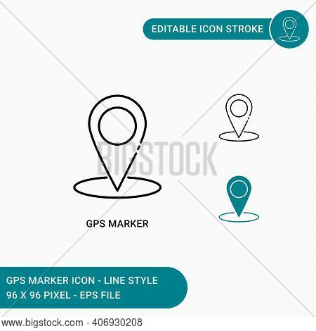 Gps Marker Icons Set Vector Illustration With Icon Line Style. Map Pin Information For Place Positio