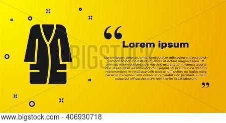 Black Bathrobe Icon Isolated On Yellow Background. Vector