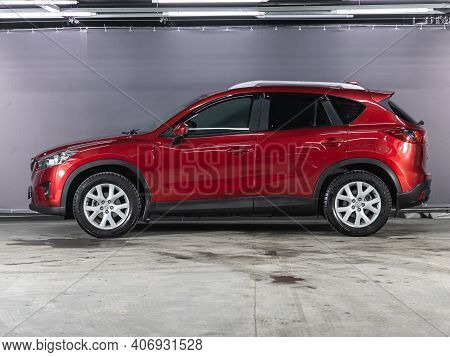 Novosibirsk, Russia - February 03 2021: Red Mazda  Cx-5,  Side View. A Modern Car Suv On A Parking I