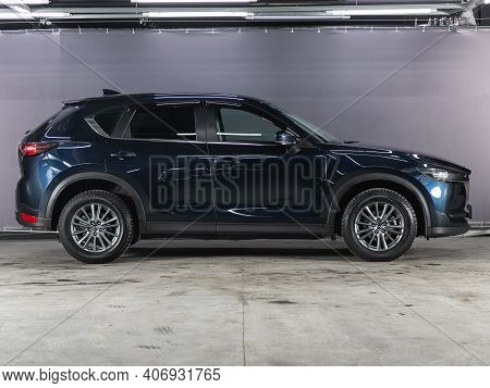 Novosibirsk, Russia - February 03 2021: Blue Mazda  Cx-5,  Side View. A Modern Car Suv On A Parking