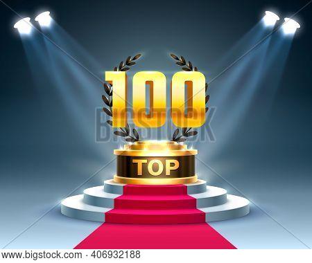 Top 100 Best Podium Award Sign, Golden Object.
