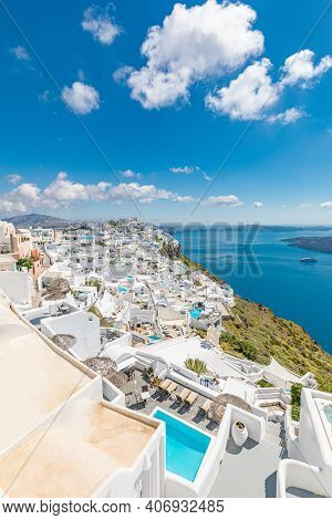 Oia, Santorini, Greece: May.11.2019: Summer Day Santorini Greek Island Church At Romantic White Hous