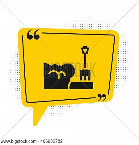 Black Shovel In Snowdrift Icon Isolated On White Background. Yellow Speech Bubble Symbol. Vector