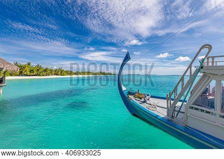 Maldives Island Background, Amazing Exotic Landscape Of Blue Turquoise Sea View With Horizon And Woo