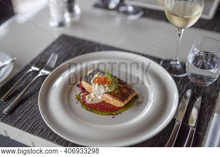 Gourmet Salmon Fish Food Plate Dinner Restaurant Homemade Dish. Black And White Elegant Gourmet Tabl