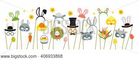 Cute Easter Photo Booth Props As Set Of Party Graphic Elements Of Easter Bunny Costume As Mask, Ears