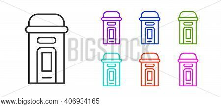 Black Line London Phone Booth Icon Isolated On White Background. Classic English Booth Phone In Lond