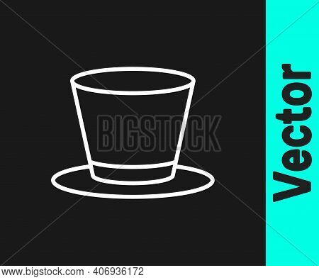 White Line Cylinder Hat Icon Isolated On Black Background. Vector