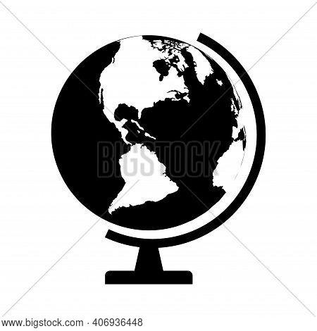 Globus Map Icon, Earth Globe Symbol, Travel To World, Plated For Web, Logo, Website Vector Illustrat