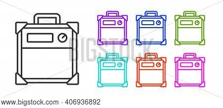 Black Line Guitar Amplifier Icon Isolated On White Background. Musical Instrument. Set Icons Colorfu