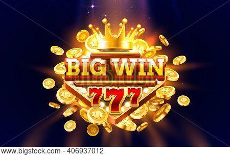 Big Win 777 Label Frame, Golden Banner, Border Winner, Vegas Game. Vector