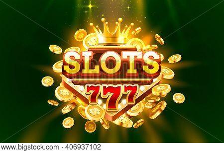 Slots 777 Label Frame, Golden Banner, Border Winner, Vegas Game. Vector