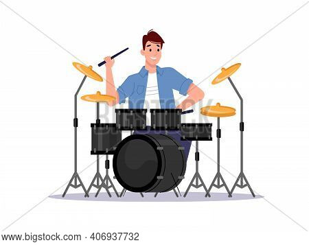 Musician Playing Drum Set Isolated Percussion Instrument And Player. Drummer Musician Beating Cymbal