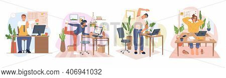 Employees Working From Home Or Office Stretching And Doing Small Exercises At Workplace To Get Rest