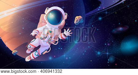 Astronaut In Spacesuit With Helmet Discovering Outerspace. Vector Cartoon Cosmonaut Science In Cosmo