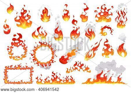 Fire Flames, Bright Fireball, Cartoon Campfire Heat Isolated Icons Set. Vector Wildfire And Red Hot