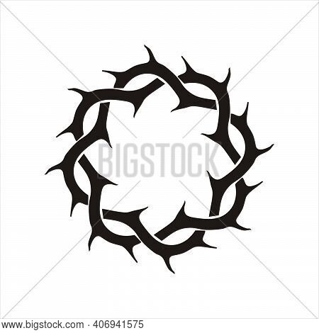 Thorns circle frame. Black silhouette of crown of thorns. Icon vector illustration isolated on white background.