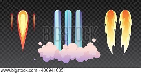Rocket Fire And Smoke Trails, Airplane Shuttle Contrails Isolated Set On Transparent. Vector Realist
