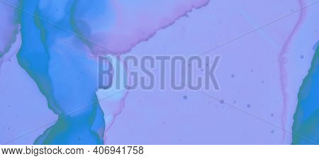 Modern Ink Stains Texture. Blue Pastel Flow Water. Pastel Flow Liquid. Pink Watercolor Paint Backgro