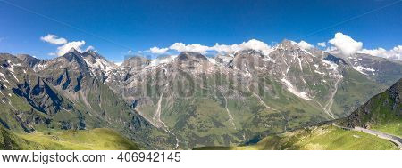 Panoramic Aerial View Of Grossglockner Mountain Along Taxenbacher Fusch High Alpine Road In Austria