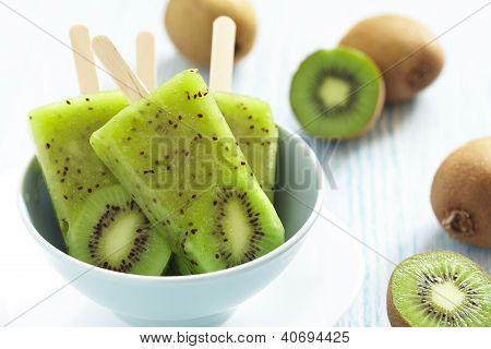 Kiwi Ice Cream Popsicle