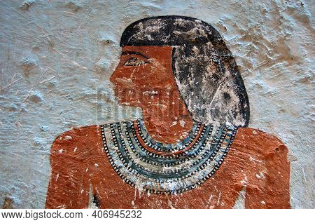 Detail Of A Portrait Of The Ancient Egyptian Governor Sarenput Ii In His Tomb In Aswan. Sarenput Ii