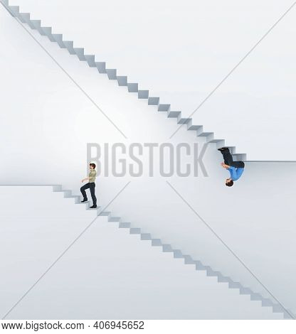Confused Man Sitting On Stairs Upside Down While One Go Up On The Stairs . Different Expectation And