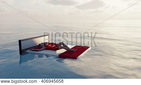 Woman In Red Dress Sleeps In The Ocean . Floating Bed In The Sea . This Is A 3d Render Illustration