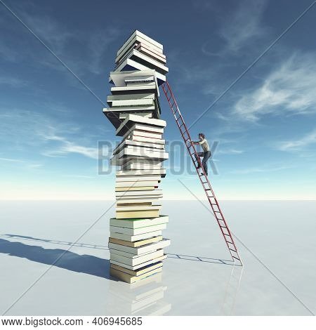 Man Climbs On A Stack Of Books Using A Ladder. Scholarship And Education Concept . This Is A 3d Rend
