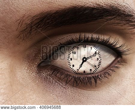 Close Up Of An Eye With A Clock Instead Of Iris . Passing Time Concept . This Is A 3d Render Illustr