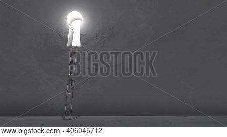 Man Climbing On A Ladder To A Key Hole In The Wall . Way To Success . This Is A 3d Render Illustrati