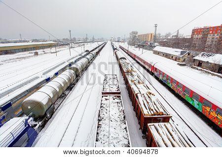 Cargo Train Platform At Winter, Railway - Freight Tranportation
