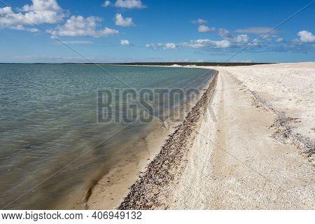 Shell Beach With Blue Sky In Western Australia Near The Denham City With Nice White Colour