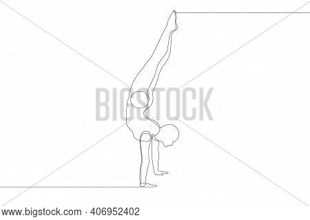 One Continuous Line Drawing. A Male Acrobat Stands In His Arms. Vector Illustration.