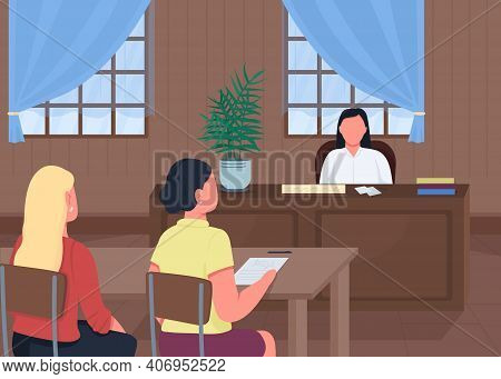 Courthouse Flat Color Vector Illustration. Giving Information To Judge. Lawyer Talking With Judge Ab