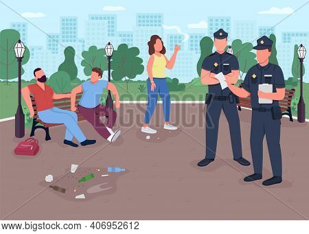 Park Crimes Flat Color Vector Illustration. Dealing With Drunk People With Cigarettes. Police Office