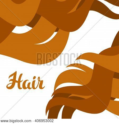 Background With Curled Hair Strands. Concept For Beauty Or Hairdressing Salon.