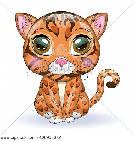 Bengal Cat With Beautiful Eyes In Cartoon Style, Hybrid, Colorful Illustration For Children. Bengal