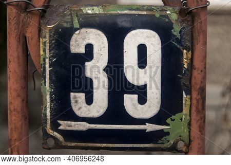 Weathered Grunge Square Metal Enameled Plate Of Number Of Street Address With Number 39