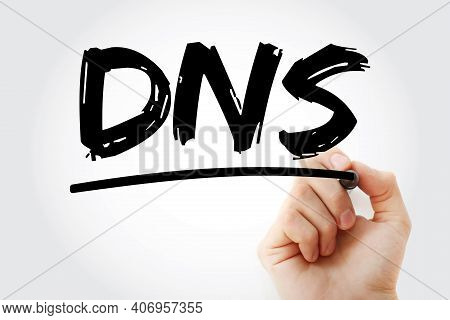 Dns - Domain Name System Acronym With Marker, Technology Concept Background