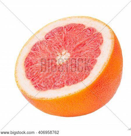 Grapefruit Halved Piece  Isolated On A White Background. Ripe Slice  Of Pink Grapefruit Citrus Fruit