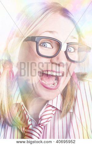 Happy Nerd Girl Singing Karaoke And Dancing