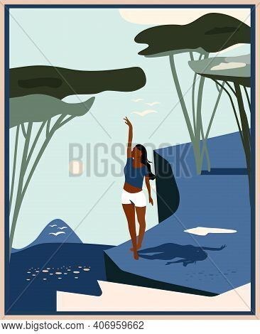 Abstract Landscape With Rocky Cliff.minimalist Woman Silhouette On Retro Summer Background.mid Centu
