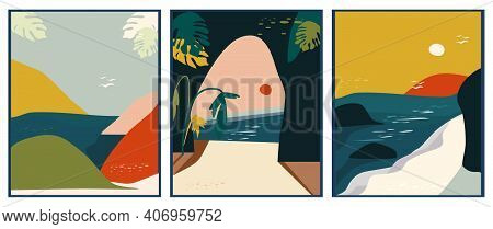 Set Of Abstract Tropical Landscapes With Ocean,beach,rocks And Sun.paper Cut Style.mid Century Art.c