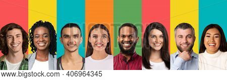 Collage Of Different People Portrairs Smiling On Bright Studio Background, Panorama With Free Space.