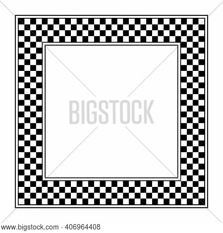 Checkerboard Pattern, Square Frame. A Checkered Pattern Frame, Made Of A Checkerboard Diagram Consis