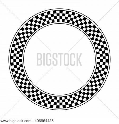 Checkerboard Pattern, Circle Frame. Round Checkered Pattern Frame, Made Of A Checkerboard Diagram Co