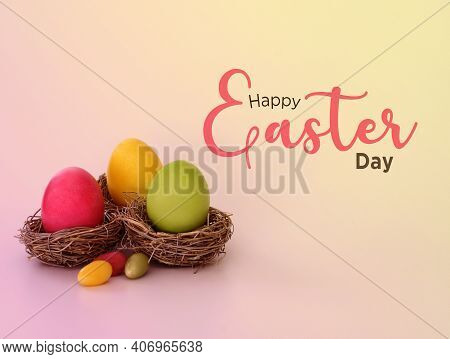 Happy Easter Day Text Written On Easter Day Background.
